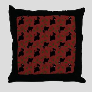 Scotties on Red Diamonds Throw Pillow