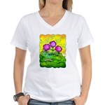 Flowers Keeping Cool Women's V-Neck T-Shirt