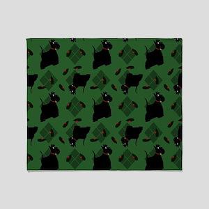 Scotties on Green Diamonds Throw Blanket