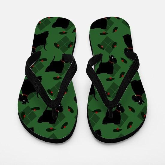 Scotties on Green Diamonds Flip Flops