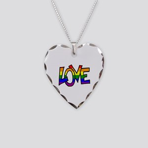 Rainbow Pride Love Necklace Heart Charm