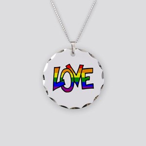 Rainbow Pride Love Necklace Circle Charm