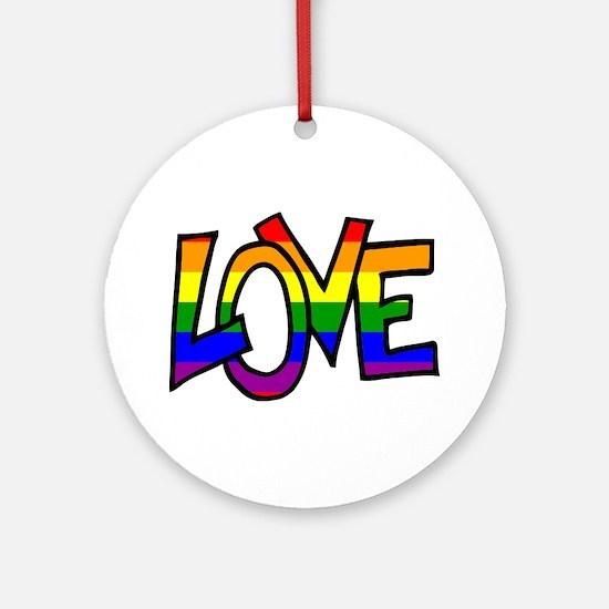 Rainbow Pride Love Ornament (Round)