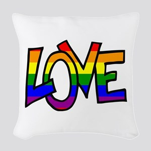 Rainbow Pride Love Woven Throw Pillow