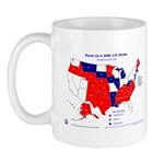 Races Up, 2008, U.S. Senators, Map Mug-Red