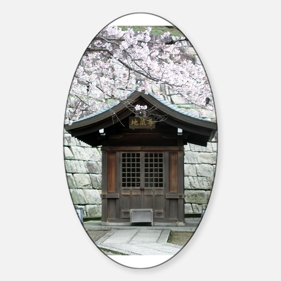 Cherry Blossoms and Shrine in Oval Decal