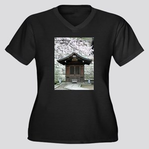 Cherry Blossoms and Shrine in Women's Plus Size V-