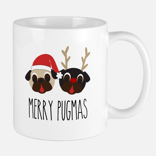 Merry Pugmas Santa & Reindeer Pugs Large Mugs