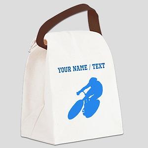 Custom Blue Cyclist Canvas Lunch Bag