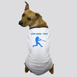 Custom Blue Baseball Batter Dog T-Shirt