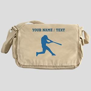 Custom Blue Baseball Batter Messenger Bag