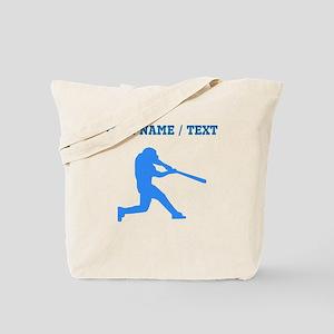 Custom Blue Baseball Batter Tote Bag