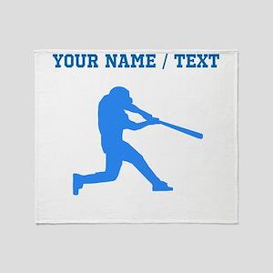 Custom Blue Baseball Batter Throw Blanket
