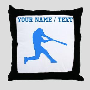 Custom Blue Baseball Batter Throw Pillow
