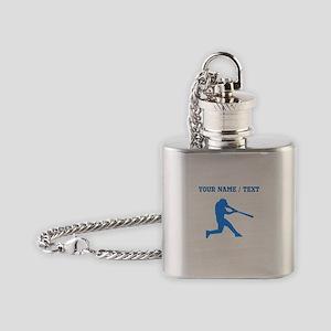 Custom Blue Baseball Batter Flask Necklace