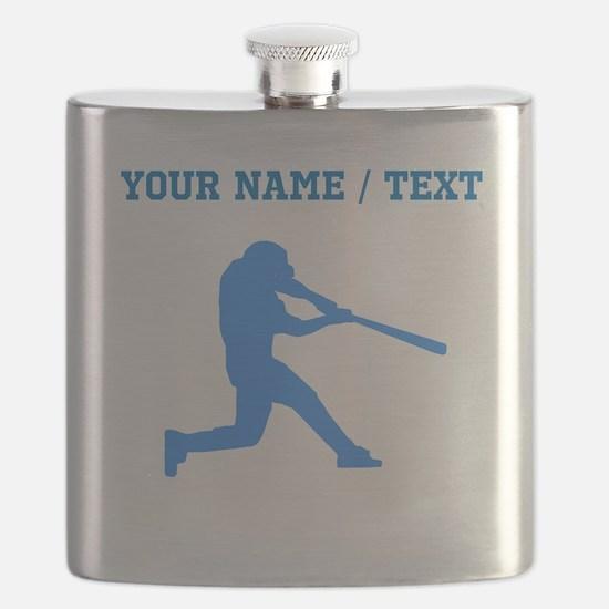 Custom Blue Baseball Batter Flask