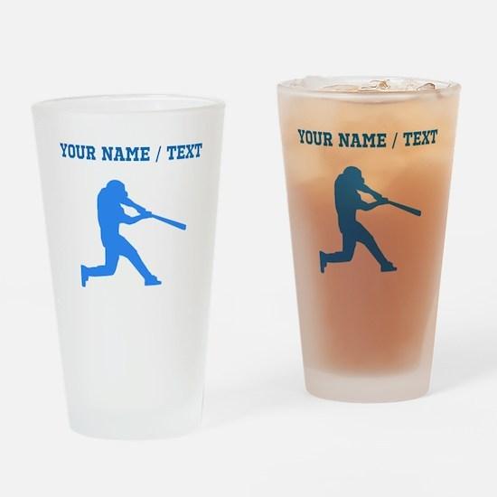 Custom Blue Baseball Batter Drinking Glass