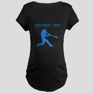 Custom Blue Baseball Batter Maternity T-Shirt