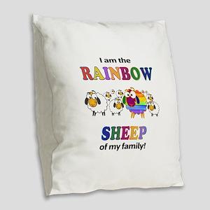 Rainbow Sheep Burlap Throw Pillow