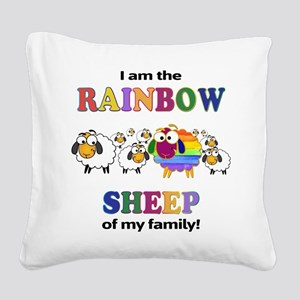 Rainbow Sheep Square Canvas Pillow