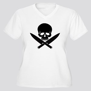 Skull& knives Women's Plus Size V-Neck T-Shirt