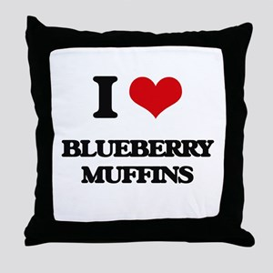 I Love Blueberry Muffins ( Food ) Throw Pillow