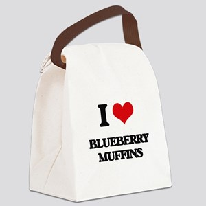I Love Blueberry Muffins ( Food ) Canvas Lunch Bag