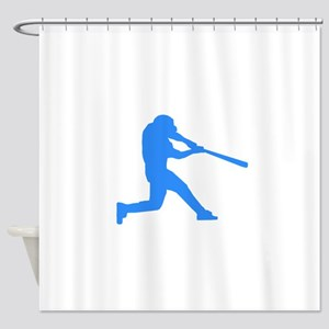 Blue Baseball Batter Shower Curtain
