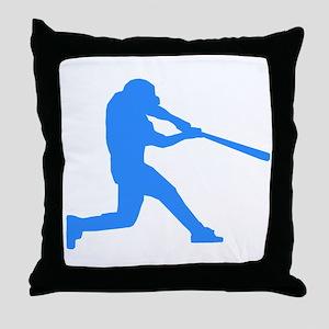 Blue Baseball Batter Throw Pillow