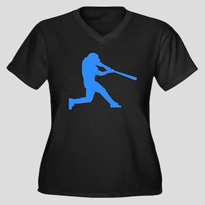 Blue Baseball Batter Plus Size T-Shirt