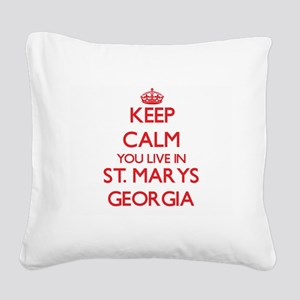 Keep calm you live in St. Mar Square Canvas Pillow