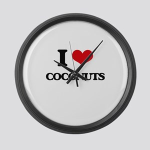 I Love Coconuts ( Food ) Large Wall Clock