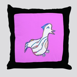 Cute Pink Duck Waddle for Sally Throw Pillow