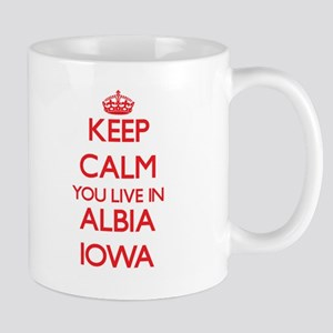 Keep calm you live in Albia Iowa Mugs