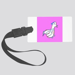 Cute Pink Duck Waddle for Sally Large Luggage Tag