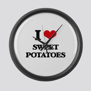 I Love Sweet Potatoes ( Food ) Large Wall Clock