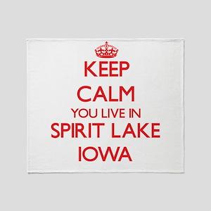Keep calm you live in Spirit Lake Io Throw Blanket