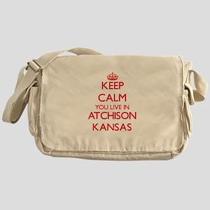 Keep calm you live in Atchison Kansa Messenger Bag