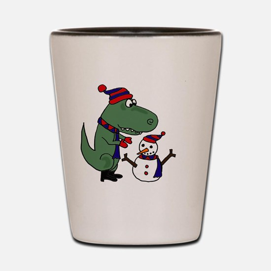 T-rex Building Snowman Shot Glass