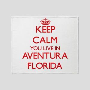 Keep calm you live in Aventura Flori Throw Blanket