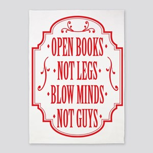 Open Books Not Legs 5'x7'Area Rug