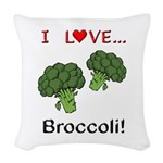 I Love Broccoli Woven Throw Pillow