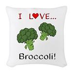 I Love Broccoli Woven Throw Pillow