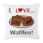 I Love Waffles Woven Throw Pillow