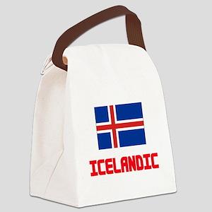 Icelandic Flag Design Canvas Lunch Bag