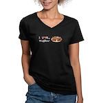 I Love Waffles Women's V-Neck Dark T-Shirt