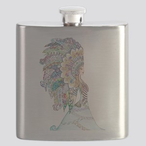 native american girl Flask