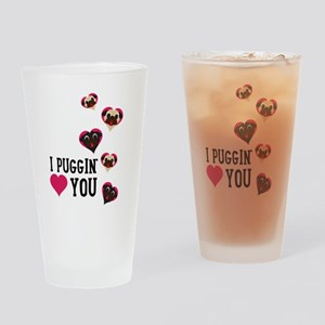I Puggin' Love You Floating Hearts Drinking Glass