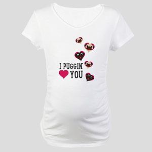 I Puggin' Love You Floating Hear Maternity T-Shirt