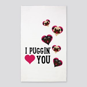 I Puggin' Love You Floating Hearts Area Rug